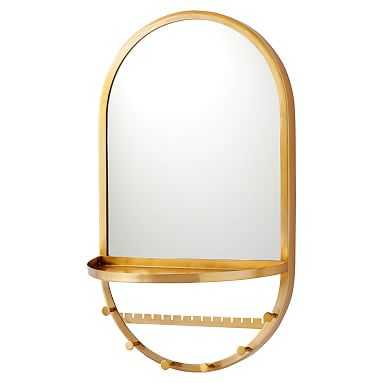 Gold Arched Wall Jewelry Storage Mirror With Shelf, Gold - Pottery Barn Teen