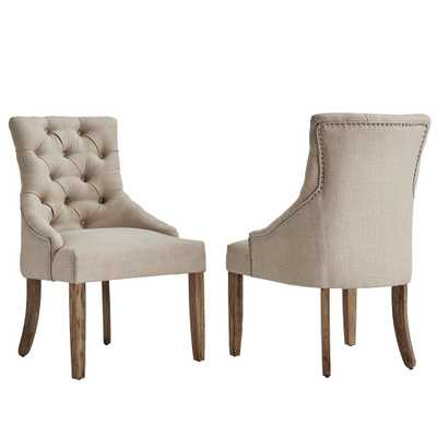 Marjorie Beige Linen Button Tufted Dining Chair (Set of 2) - Home Depot