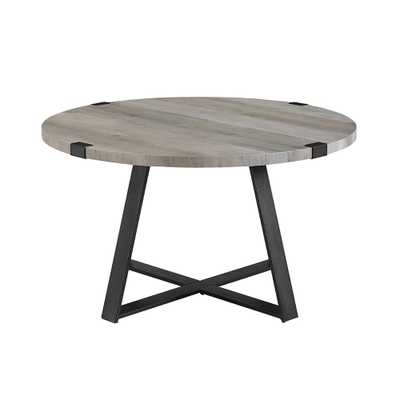 30 in. Grey Wash/Black Rustic Urban Industrial Wood and Metal Wrap Round Coffee Table - Home Depot