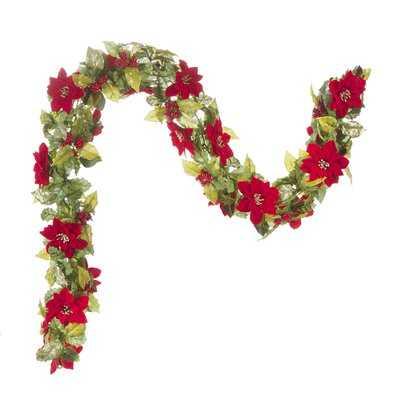 Poinsettia Christmas Garland - Birch Lane