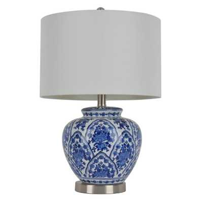 Decor Therapy 20 in. Blue and White Table Lamp with Cotton Shade - Home Depot