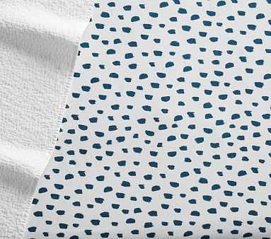 Brushstroke Dot Flannel Crib Fitted Sheet, Blue Teal - Pottery Barn Kids