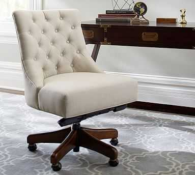 Hayes Upholstered Tufted Swivel Desk Chair with Mahogany Frame, Performance Brushed Basketweave Oatmeal - Pottery Barn