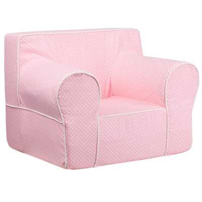 Oversized Light Pink Dot Kids Chair with White Piping, Pink/White - Home Depot