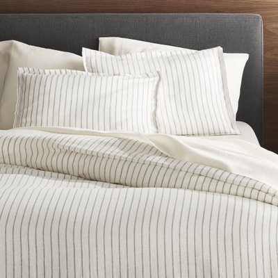 Linen Wide Stripe Warm White King Duvet Cover - Crate and Barrel