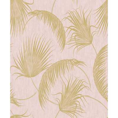 SK Filson Oasis Pink and Gold Foil Leaves Wallpaper - Home Depot