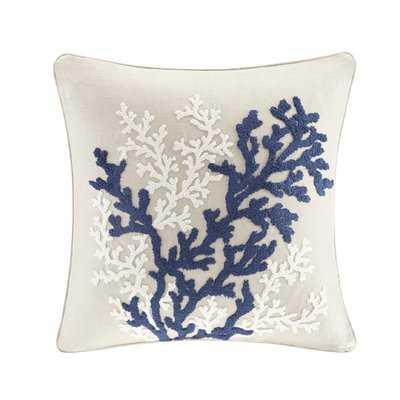 Rift Coral Linen Embroidery Throw Pillow - Wayfair