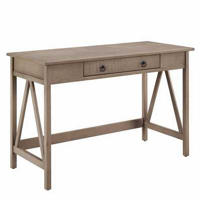 Greenville Rustic Gray Washed Wood Desk - Home Depot