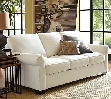 """Buchanan Roll Arm Upholstered Sofa 87"""", Polyester Wrapped Cushions, Brushed Crossweave Natural - Pottery Barn"""