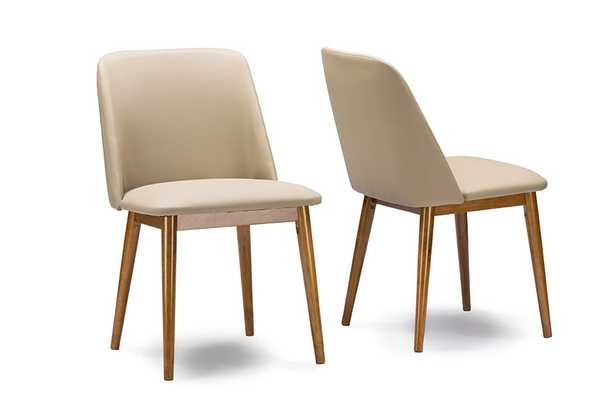 "Baxton Studio Lavin Mid-Century ""Walnut"" Light Brown/Beige Faux Leather Dining Chair (Set of 2) - Lark Interiors"