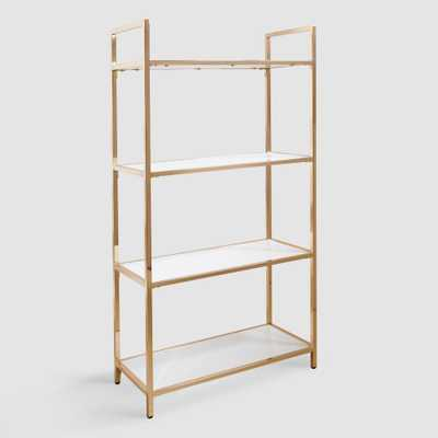 White and Gold Reid Bookshelf by World Market - World Market/Cost Plus