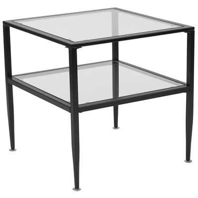 Flash Furniture Glass Top End Table in Black - eBay