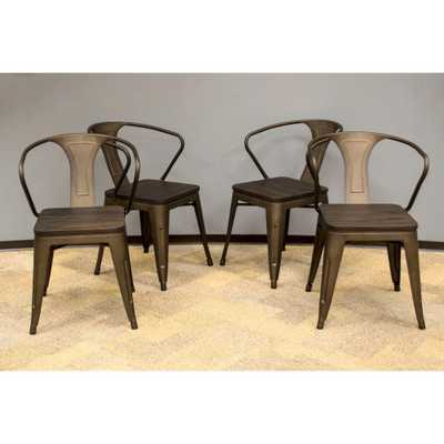 Loft Style 18 in. Rustic Gunmetal Dining Chair with Dark Elm Wood Tops (Set of 4), Metallic Java - Home Depot