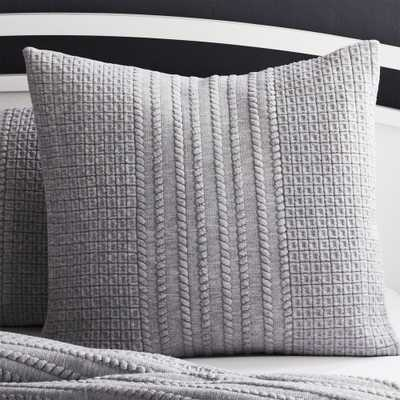 Doret Grey Jersey Pillow Sham Euro - Crate and Barrel