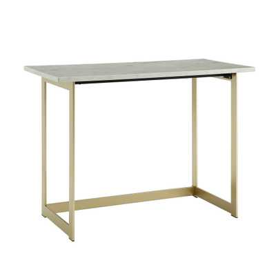 42 in. White Marble / Gold Contemporary Modern Faux Marble Work Writing Computer Desk, Faux White Marble/Gold - Home Depot
