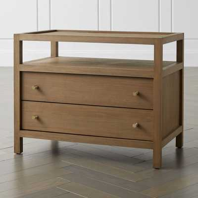 Keane Driftwood Solid Wood Charging Nightstand - Crate and Barrel