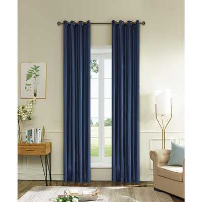 Lyndale Decor Aberdeen 95 in. L x 45 in. W Max Blackout Thermal Coating Polyester Curtain in Navy Blue - Home Depot