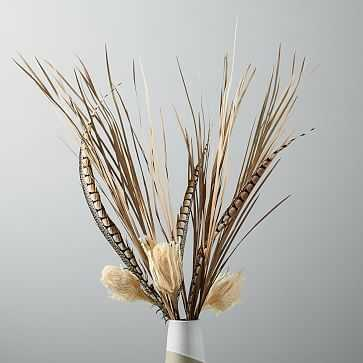 Metaflora Dried White Banksia + Grass + Feathers Bouquet - West Elm
