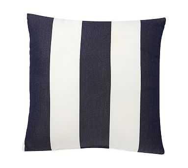 "Sunbrella(R) Awning Stripe Indoor/Outdoor Pillow, 18"", Navy - Pottery Barn"