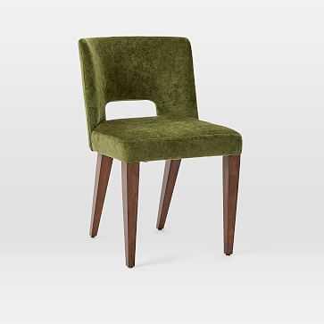 Ava Dining Chair, Worn Velvet, Olive, Dark Walnut - West Elm