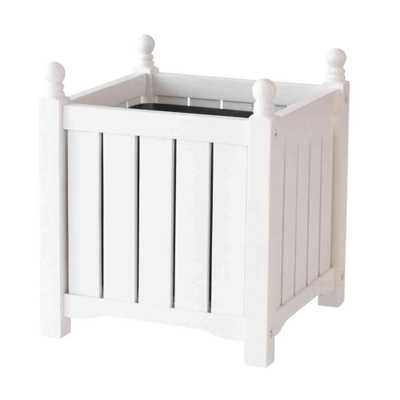 Lexington 14 in. Square White Wood Planter - Home Depot