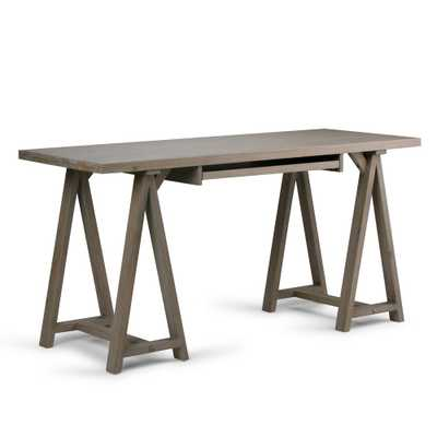 Sawhorse Distressed Grey Desk - Home Depot