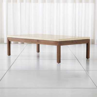 Parsons Travertine Top/ Elm Base 60x36 Large Rectangular Coffee Table - Crate and Barrel