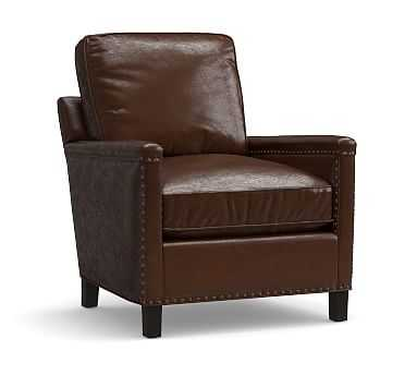 Tyler Leather Armchair with Bronze Nailheads, Polyester Wrapped Cushions, Leather Legacy Chocolate - Pottery Barn