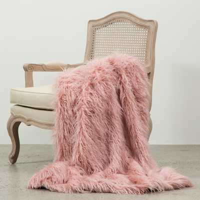 Aurora Home Mongolian Lamb Faux Fur Throw: Pink - 58 x 84 - eBay