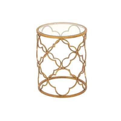Brass Gold Round Accent Table with Quatrefoil Trellis Design Frame - Home Depot