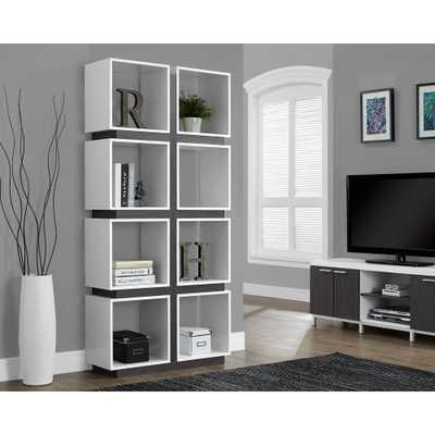 White and Grey Open Bookcase, White/Grey - Home Depot