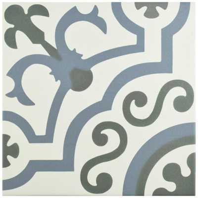 Merola Tile Hidraulico Ducados 9-3/4 in. x 9-3/4 in. Porcelain Floor and Wall Tile (10.76 sq. ft. / case), Blue/Grey And White/Low Sheen - Home Depot
