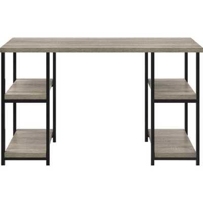Seneca Weathered Oak Double Pedestal Desk - Home Depot