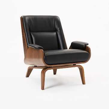 Paulo Bent Lounge Chair, Parc Leather, Black - West Elm
