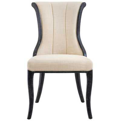 Jacques Natural Linen Flared Back Side Chair in Antique Black (Set of 2) - Home Depot