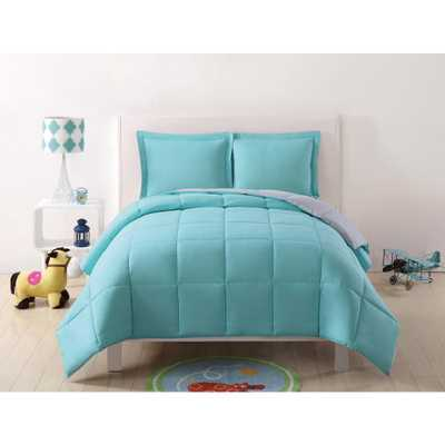 Pem America Anytime Solid Turquoise and Grey Reversible 2-Piece Twin XL Comforter Set - Home Depot