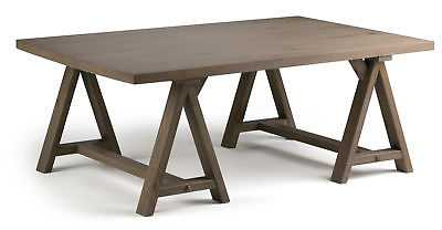 Simpli Home Sawhorse Coffee Table: Distressed Gray - eBay