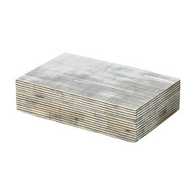 5 in. x 2 in. Pin Stripe Bone Decorative Box, Gray - Home Depot