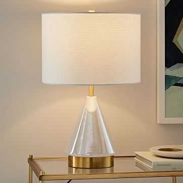 Metalized Glass Table Lamp + USB, Small, Pearl - West Elm