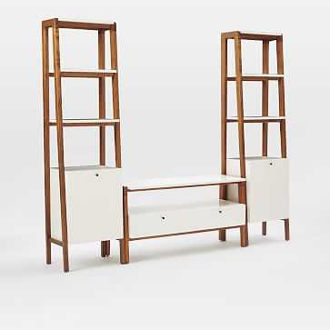 Modern Media Set 1: Small Console + 2 Narrow Towers, Pecan/White - West Elm