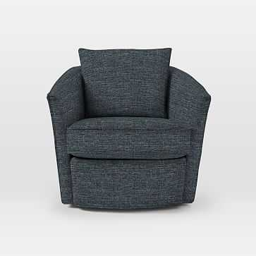 Duffield Swivel Chair, Heathered Tweed, Marine - West Elm
