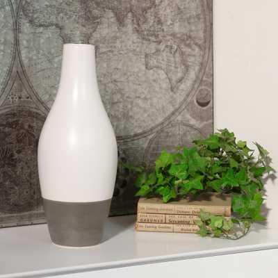 Gray, White Matte Stoneware Decorative Vase, Grays - Home Depot