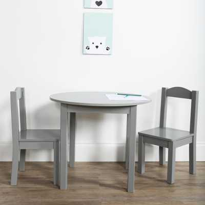 Inspire 3-Piece Grey Kids Round Table and Chair Set - Home Depot
