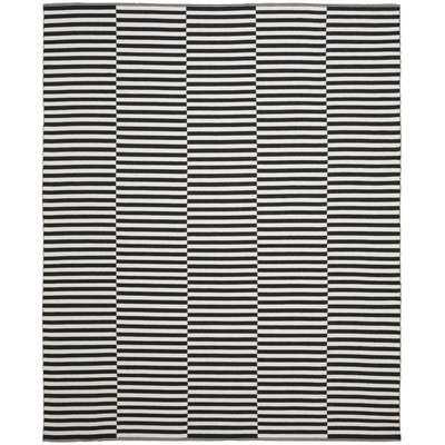 Orwell Striped Handmade Flatweave Cotton Ivory/Black Area Rug - AllModern