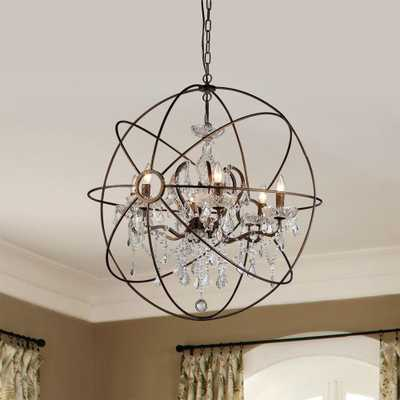 Warehouse of Tiffany Planetshaker II 6-Light Antique Bronze Chandelier with Shade - Home Depot