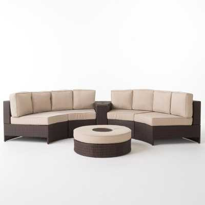 Noble House Madras Brown 6-Piece Wicker Outdoor Sectional Set with Textured Beige Cushions - Home Depot