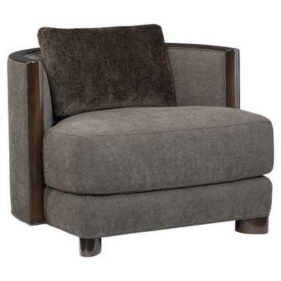 Jaron Modern Classic Espresso Brown Wood Slub Knit Pillow Back Barrel Arm Chair - Kathy Kuo Home