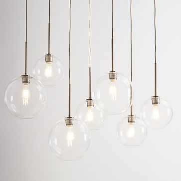 Sculptural Glass 7-Light Linear Chandelier, S-M Globe, Clear Shade, Nickel Canopy - West Elm