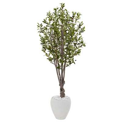 Indoor Olive Artificial Tree in White Oval Planter - Home Depot