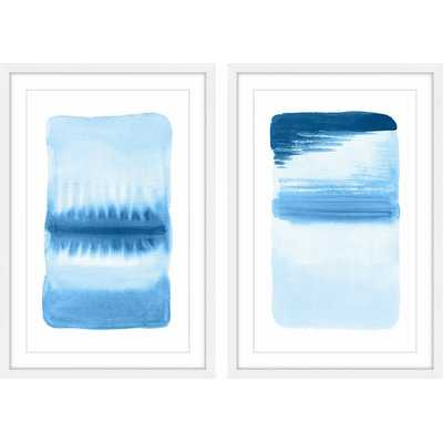 'Flows Diptych' Framed 2 Piece Watercolor Painting Print Set in Blue/White - Wayfair